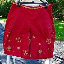 Nwot Talbots Petites Rust & Gold Embroidered Knee Length Skirt Size 12 Photo