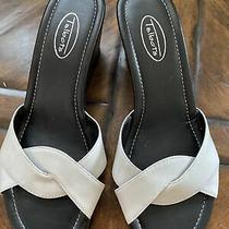 Nwot Talbots White Leather Wedge Sandals Size 7.5 Photo