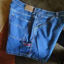 Nwot Tommy Hilfiger Darling Denim Shorts High End Logo Details Sz 14 Photo