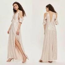 Nwot Topshop Blush Pink Foil Cold Shoulder Plunging Neck Maxi Slit Dress Us 6 Photo