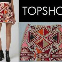 Nwot Topshop Tribal Embroidered Jacquard Mini Skirt Size 8/eur 40 Photo