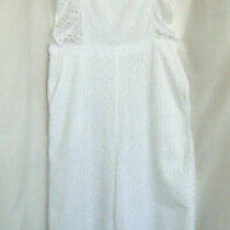 Nwot Topshop White Ruffle Cotton Eyelet Jumpsuit Overalls Wide Leg Lined Us 10 Photo
