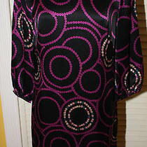 Nwot Trina Turk 100% Silk Abstract Print Mod 3/4 Sleeve Mini Tunic Dress 0 Photo
