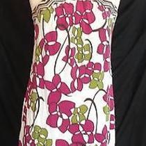 Nwot Trina Turk La Size 8 Silk Halter Style Dress Mod  Floral Print Mod Green Photo
