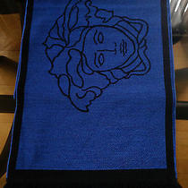 Nwot Unisex Versace Large 100% Wool Medusa Logo 2 Sides Scarf Black/ Blue  Italy Photo