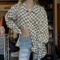 Nwot Urban Outfitters Gray Checked Denim Jacket Photo