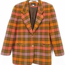 Nwot Usa Vintage Express Plaid Wool Coat Blazer Jacket Orange L Womens Large Photo