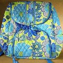 Nwot Vera Bradley Cheery Blue and Green Floral Design Backpack Photo