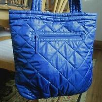 Nwot Vera Bradley Puffy Nylon Quilted Blue Puffer Shopper Tote Handbag 16x13x5  Photo