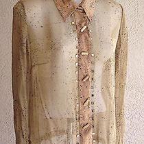 Nwot Very Vera (Wang) Golden Tan Splatter Pattern Silk Blouse-Mirror Accent - M Photo