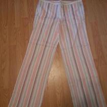 Nwot Victoria's Secret Beach Pants in Linen Size 6 Orange Striped Photo