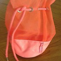 Nwot Victorias Secret Orange Small Mesh Drawstring Barrel Bag 9.5 H X 5 W Photo