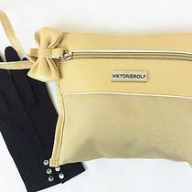 Nwot Viktor & Rolf Wristlet Clutch Cosmetic Bag Soft Leather Bow Zip Cream Photo