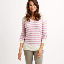 Nwot Vineyard Vines 100% Cashmere Striped v-Neck Sweater Top in Wisteria Sz Xs Photo