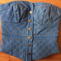 Nwot Vintage Betsey Johnson Denim Peplum Corset Top Small Button Up Strapless Photo