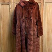 Nwot Vintage Fendi Chestnut Mink Paneled Mid Length Fur Coat Leather Tie Collar Photo