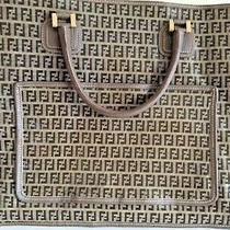 Nwot Vintage Fendi Zucca Logo Pattern Pvc Leather Tote Bag Made in Italy Photo