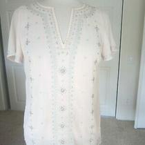 Nwot White House Black Market 2 Blush Pink v Neck Beaded & Embroidered Tunic Top Photo