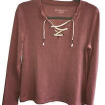 Nwot Women's Beyond Yoga Lace Up Sweatshirt Pullover Xs Blush Soft Beautiful Photo
