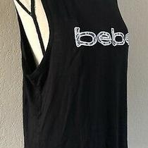 Nwot - Women's - Black - Bebe - Sport - Logo - Tank Top - Mash - Rayon - Sz L Photo