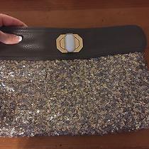 Nwot Women's Deux Lux Large Clutch Purse Gray Gold Sequins Handbag Elegant  Photo