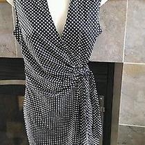 Nwot Women's Express Fashions Wrap Dress Black White 8 Photo