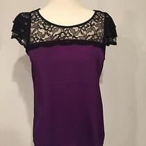 Nwot Women's Express Lace Sleeve Top Purple-Sz S Photo