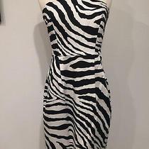 Nwot Women's Express Strapless Mini Dress With Pockets Zebra Print-Sz 6 Photo