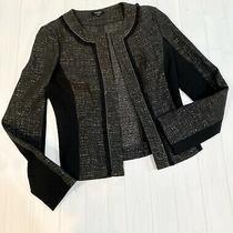 Nwot Women's Express Sz 6 Small Black Textured Print Open Front Jacket Dressy Photo