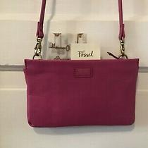 Nwot Womens Fossil Small Pink Leather Crossbody / Clutch W/ Removable Strap Photo