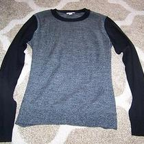 Nwot Women's Gap Sweater Size Medium Black Gray Extra Fine Merino Wool Photo