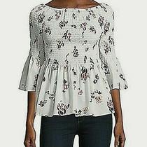 Nwot Women's Ivanka Trump Gesmokte Cotton Floral Print Top Blush  Size Xs Photo