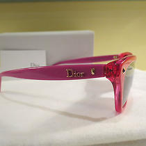 Nwot Womens Authentic Christian Dior Pink & Red Cat Eye Sunglasses Case & Cloth Photo