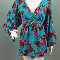 Nwot Womens Betsey Johnson Floral Empire Waist W/tie Blouse Top Shirt Sz L Large Photo