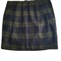 Nwot Womens Gap Green Black Plaid Wool Flannel Pleated Lined Skirt Size 4 Photo