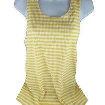 Nwot Womens Yellow White Stripes Gap Sleeveless Cotton Tank Pullover Top Shirt M Photo