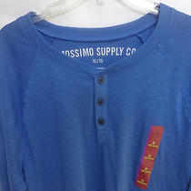 Nwot Xl Mossimo Blue Mens Long Sleeve Pull Over Henley Shirt 100% Cotton Photo