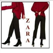 Nwot Zara Black Mid-Rise Crop Pants Trouser Zipper With Metal Grimets Sz Xs Photo