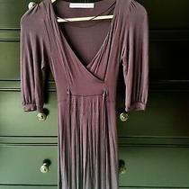 Nwot Zara Collection Dress Deep v Neck 3/4 Bell Sleeve Dark Purple Xs 0 2 Bcbg Photo