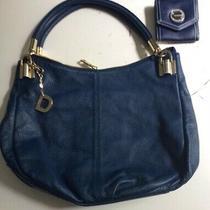 Nwots Dkny Donna Karan Blue  Leather Hobo Shoulder Bag Isaac  Mizrahi Wallet Photo