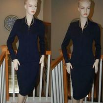 Nwots St. John Knit Navy Stunning Santana Knit Collection Skirt Suit Sz 6 Photo