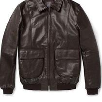 Nwt 1060 Lot78 A2 Leather Bomber Jacket in Brown Sz It 50 Photo