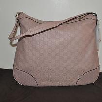 Nwt  1450 Gucci Bree Guccissima Logo Leather Hobo Bag Pink Blush Photo