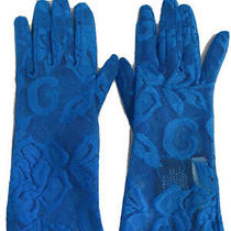 Nwt 100% Authentic Gucci Blue Lace Floral Motif and Letter G Gloves Size S/7 Photo