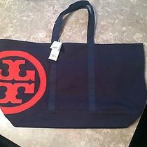 Nwt 100% Authentic Tory Burch Large Canvas Zip Tote Photo