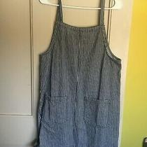 Nwt 100% Cotton Navy/white Striped Overall Dress L From Roxy Photo