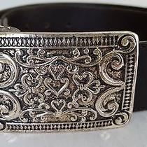 Nwt 110 Linea Pelle by Mira K Black Leather Belt Silver Buckle Size S New Photo