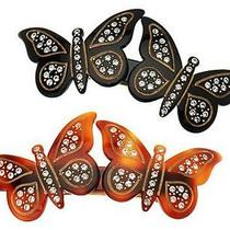 Nwt 120 France Luxe Double Butterfly Black or Brown Swarovski Crystal Hairclip Photo