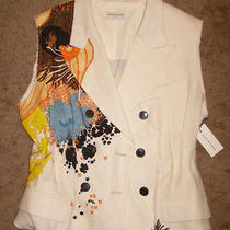 Nwt 1200 Dries Van Noten Sz 10 Linen Printed Vest Blazer Ivory Double Breasted Photo