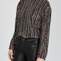Nwt 128 Free People Midnight City Top Shirt Black W/ Sequins M Medium  Photo